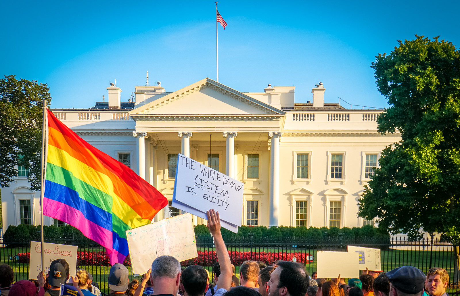 2017.07.26 Protest Trans Military Ban, White House, Washington DC USA 7635