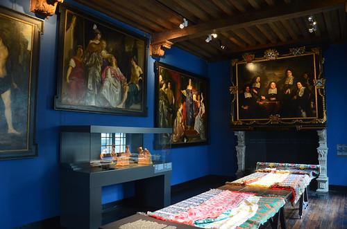Im Stadtmuseum von Leiden die Leinentücher