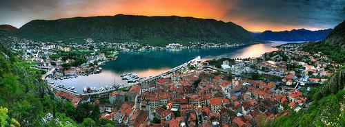 crnagora adriatic balkan cattaro kotor montenegro dusk spring sunset