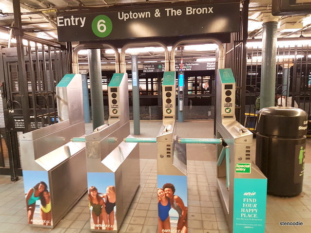 New York subway turnstiles