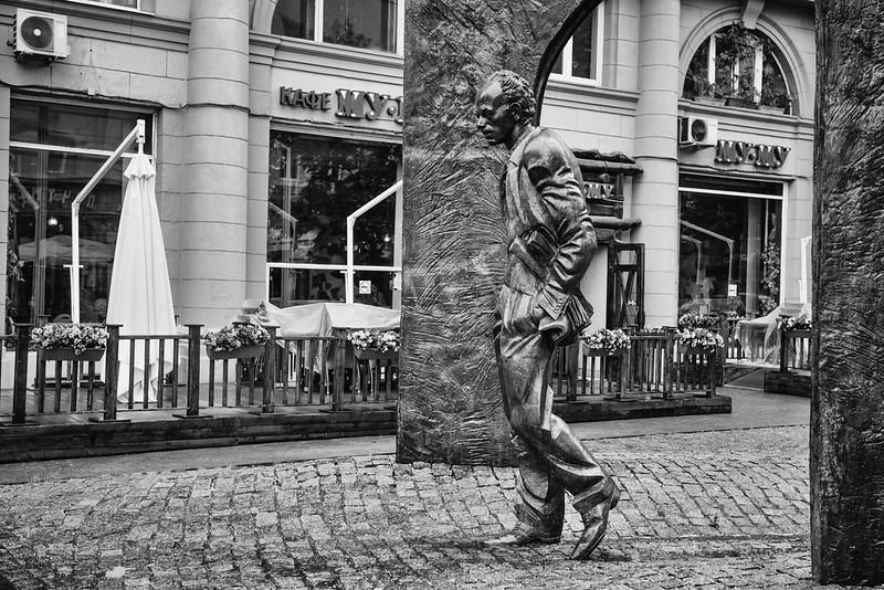 Bulat Okudzhava Statue 2 Monochrome