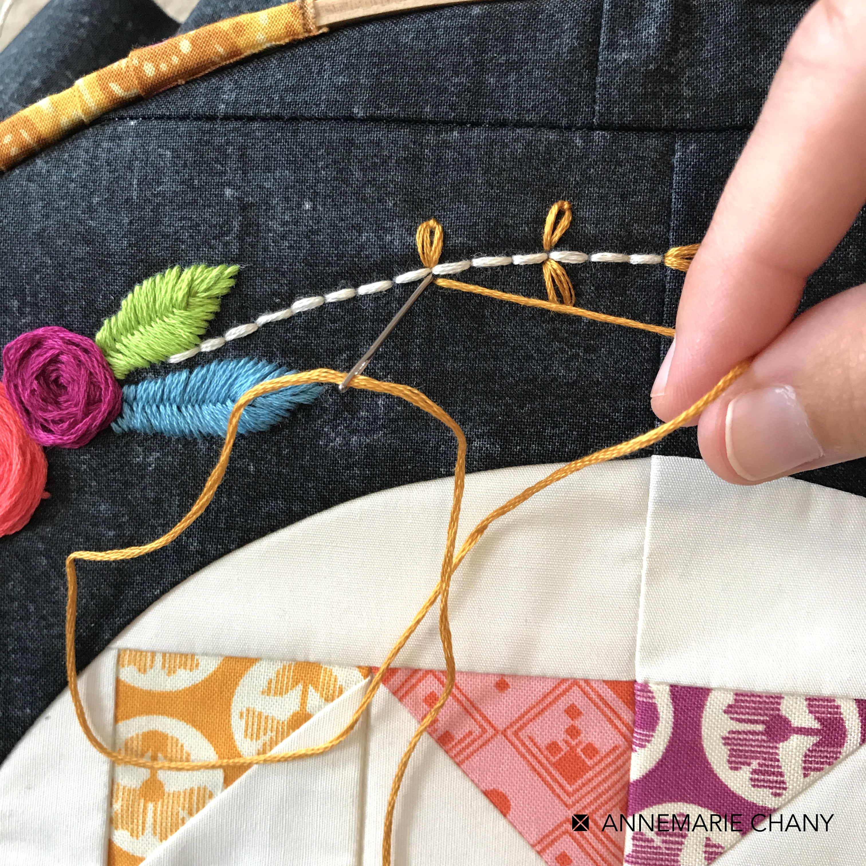 Hoop Quilt Along adding Embroidery Pattern by AnneMarie Chany