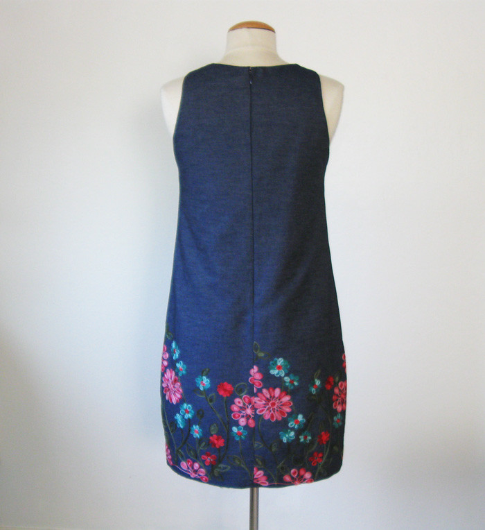 denim flower dress on form back