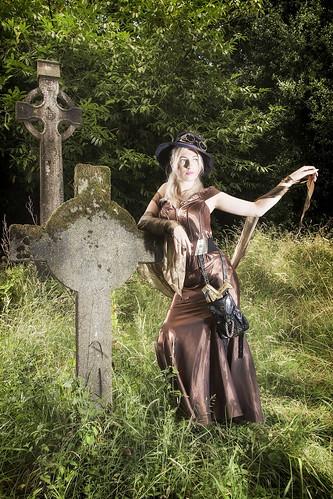 cosplay steam punk dress brown satin hat glases grave head stone grass silk corset sash wexford
