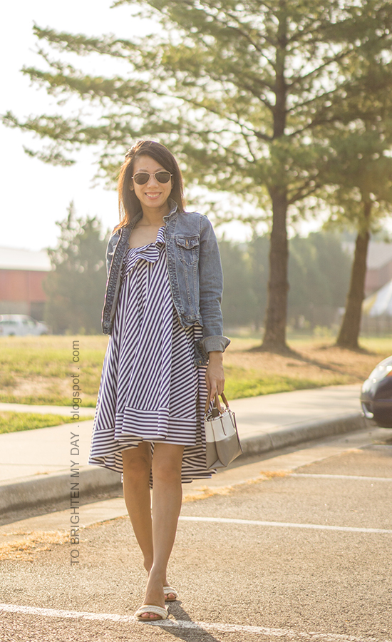 denim jacket, blue striped cotton dress, colorblock tote, white sandals with fringe