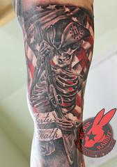 American Revolutionary War Flag Soldier Patriot Skeleton Rifle 3%er Three Percenter Realistic 3D Tattoo by Jackie Rabbit