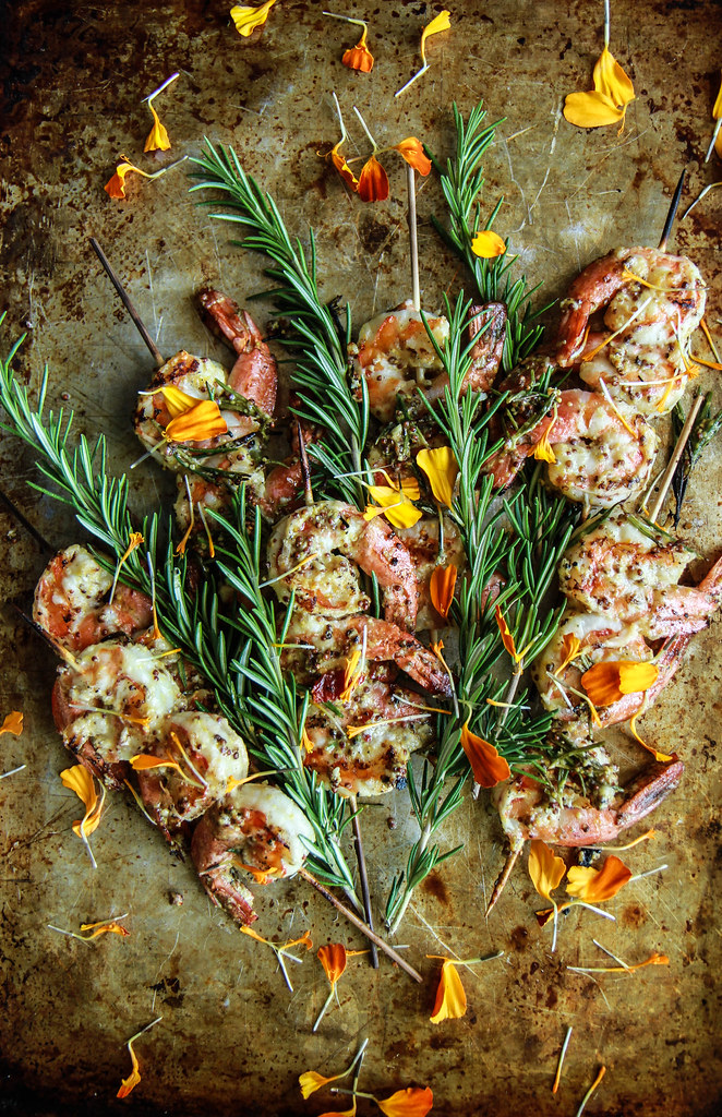 Grilled Garlic, Rosemary and Mustard Shrimp from HeatherChristo.com