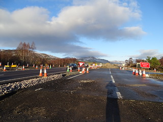 Old carriageway next to new near Kincraig