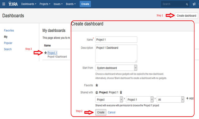 Jira Features - Create Dashboard