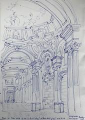 Zeichnung Klosterbibliothek des Stiftes Admont