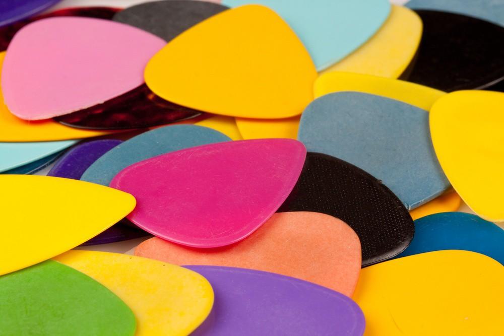 close-up of colorful guitar picks