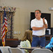 """State Rep. John Fusco talks with constituents during a """"town hall"""" event at the Calendar House in Southington."""