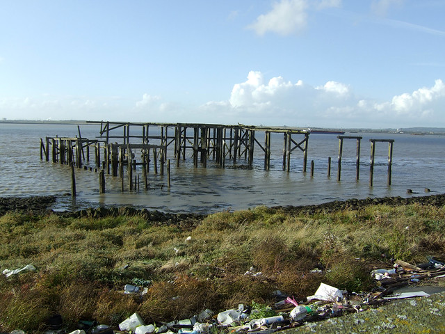 Old jetty beside Cliffe Marshes