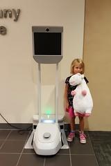 Amalie checks out the robot