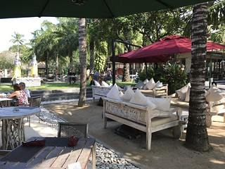 Outdoor seating at a dessert shop in Bali