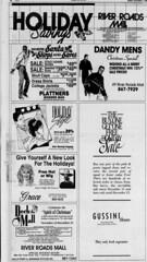 River Roads Mall Holiday savings newspaper ad (1990)