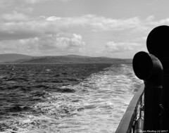 Scotland West Highlands Argyll the paddle steamer Waverley sailing away from the island of Little Cumbrae 16 July 2017 by Anne MacKay