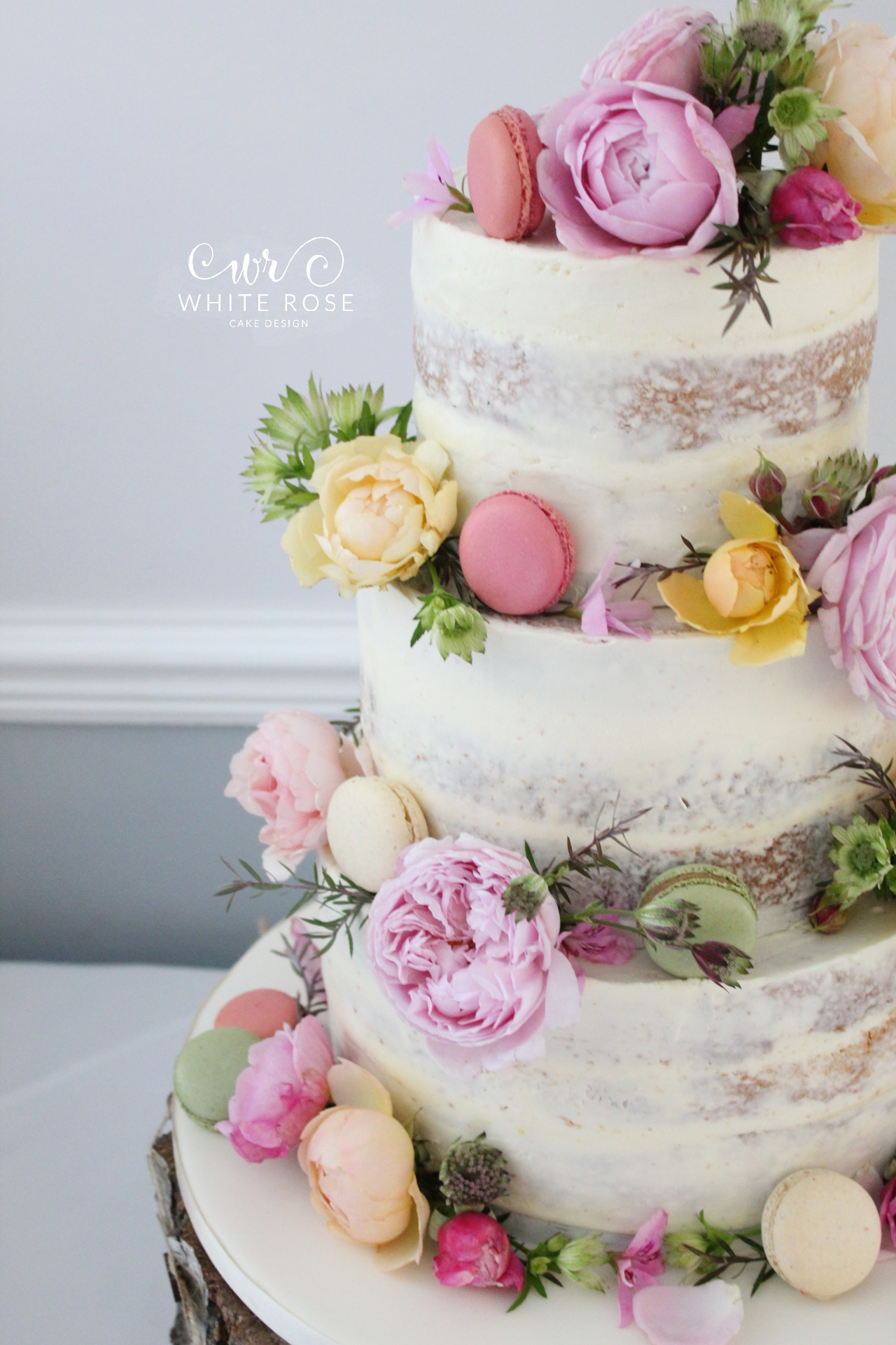 Floral Semi-Naked Wedding Cake with Fresh Flowers in Bright Colours at Durker Roods Hotel by White Rose Cake Design Wedding Cake Designer in Huddersfield Holmfirth West Yorkshire (3)