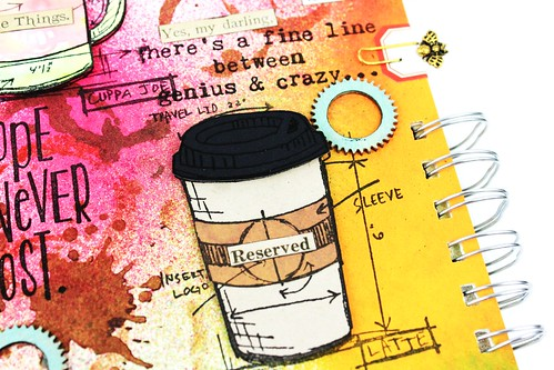 Meihsia Liu Simply Paper Crafts Mixed Media Art Journal Drink Coffee Simon Says Stamp Tim Holtz 3