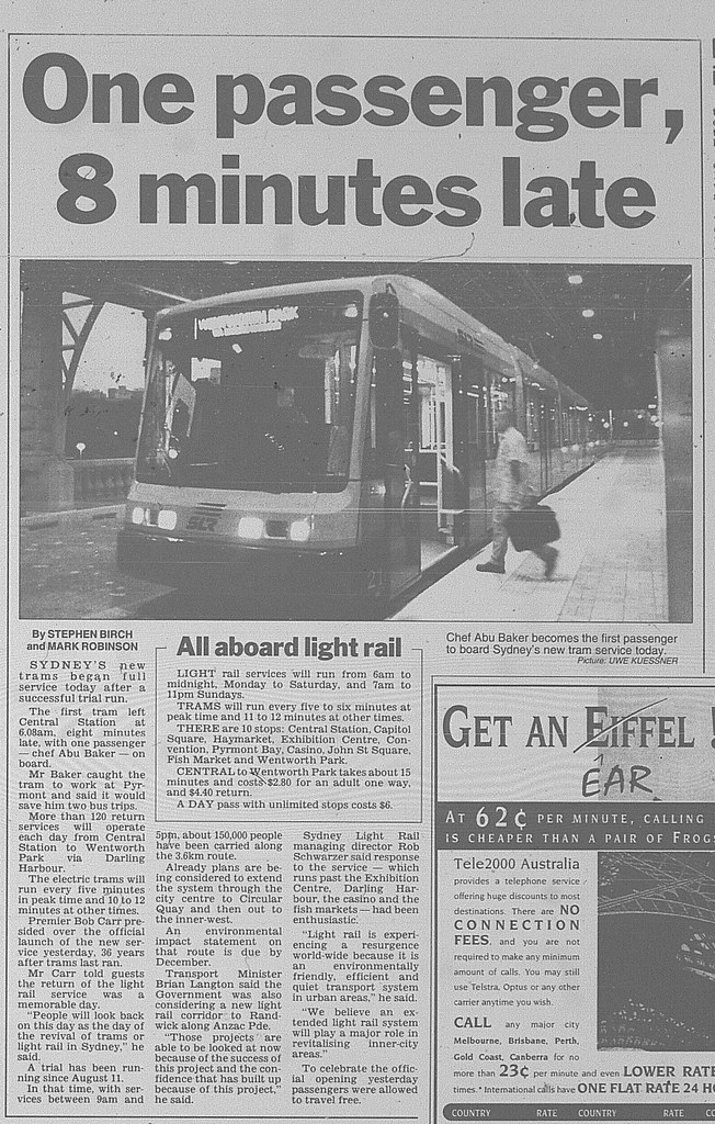 Sydney light rail opens september 1 1997 daily telegraph 17