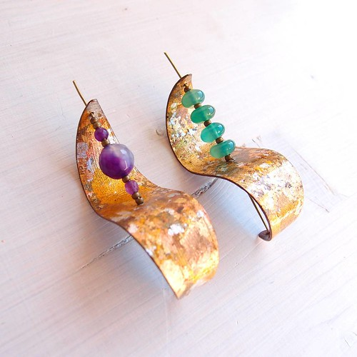 Sculptured Paper Earrings with Beads by Paper Leaf