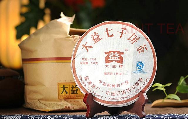 Free Shipping 2007 TAE TEA DaYi 7452 Random lot Beeng Bing Cake 357g YunNan MengHai Organic Pu'er Pu'erh Puerh Ripe Cooked Tea Shou Cha