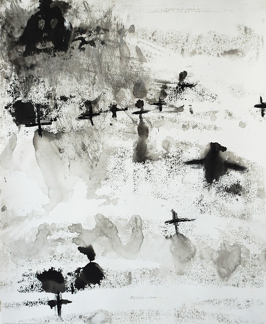 Impressions 12 (2017) Ink and pigment on Arches paper, charcoal 684x570mm