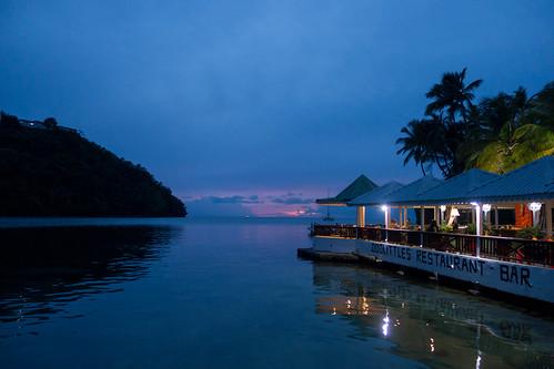 caribbean marigotbay stlucia westindies sea sunset water
