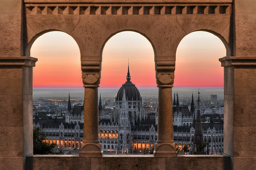 budapest hungary parliament sunrise red sky window fishermans bastion hdr dri morning architecture