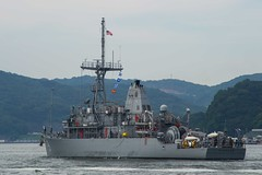 USS Pioneer (MCM 9) departs Sasebo, Japan to participate in the Mine Countermeasure exercise 2JA, July 14. (U.S. Navy/MC2 Jordan Crouch)