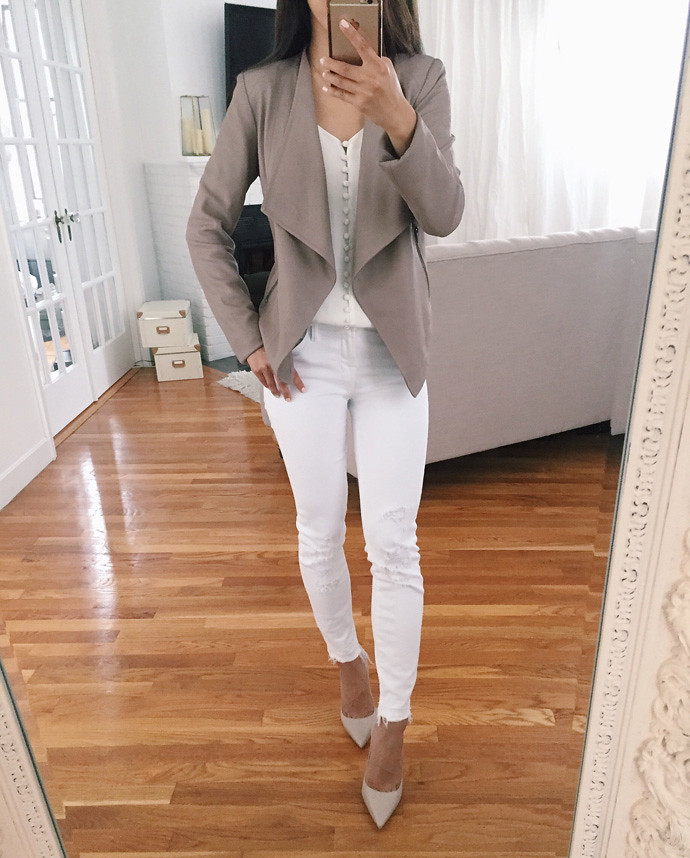 leather drape jacket white jeans outfit extra petite