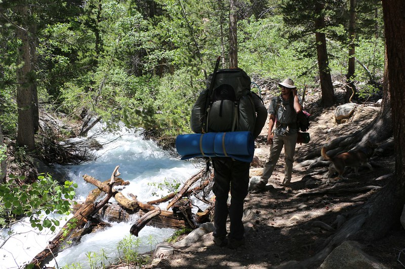 The North Fork of Bishop Creek is running strong as we hike the Paiute Pass Trail