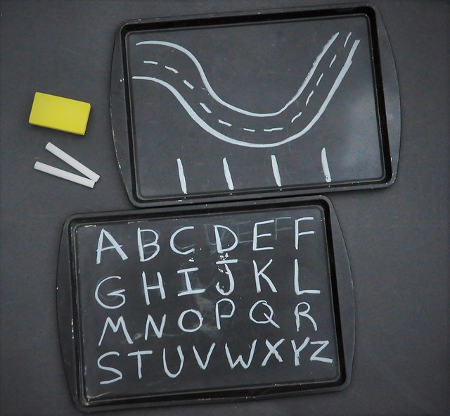 DIY $2 Chalkboard Cookie Sheet Travel Activity Tray for Road Trips