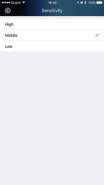 Doby iOS App - Camera Settings - Sensitivity