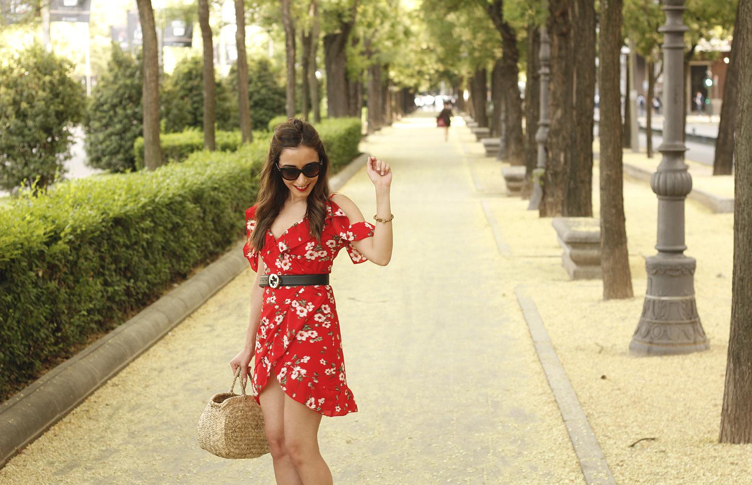 Red flower dress nude heels gucci belt rafia bag style fashion summer14