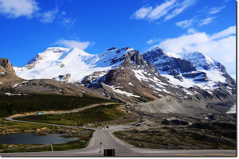 Looking south at Mount Athabasca and Mount Andromeda from Columbia Icefield Glacier Discovery Centre 2