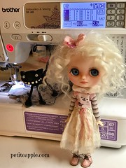 Dinky at the sewing machine...