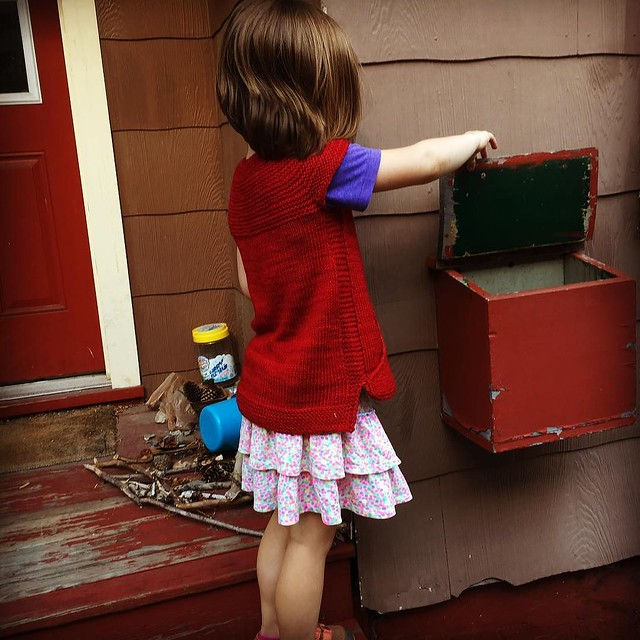 She saw her new vest drying on the porch and wanted to put it on while she checked the mail :)