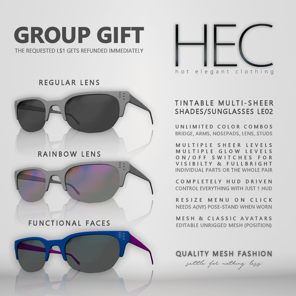 HEC GROUP GIFT - UNISEX SHADES/SUNGLASSES LE02 - SecondLifeHub.com