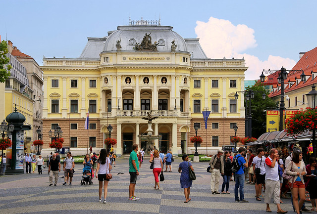 The old Slovak National Theater in the heart of Bratislava