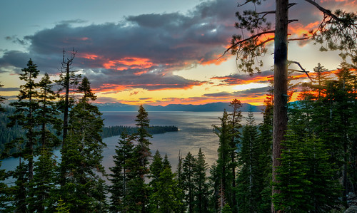 california sunrise sun laketahoe water landscape hdr mountain alpine beautiful scenery scenic sky lake tahoe summer trees ca cali cal