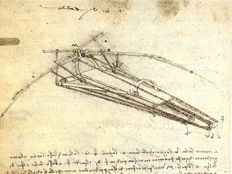 Flying machine, by Leonardo da Vinci