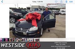 Happy Anniversary to Alexander on your #Volkswagen #Jetta Sedan from Luis Espinoza at Westside Kia!