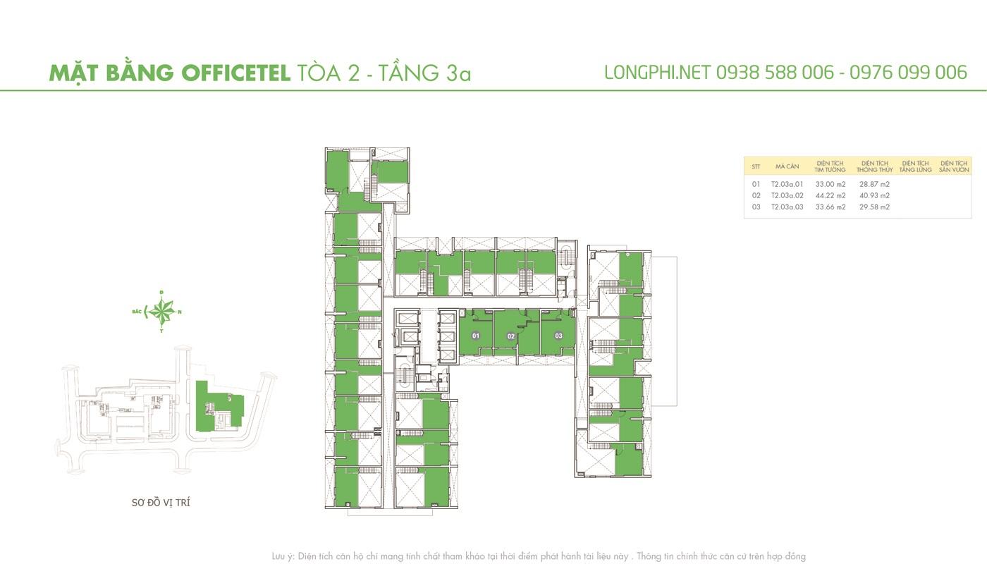 Mặt bằng căn hộ officetel M-One tầng 3A tháp T2.