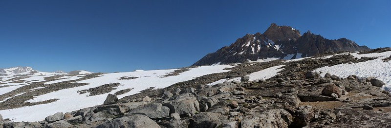 Looking back at Mount Humphreys and our path back from last night's campsite