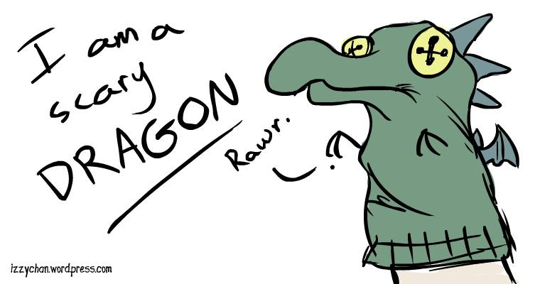 green sock puppet dragon
