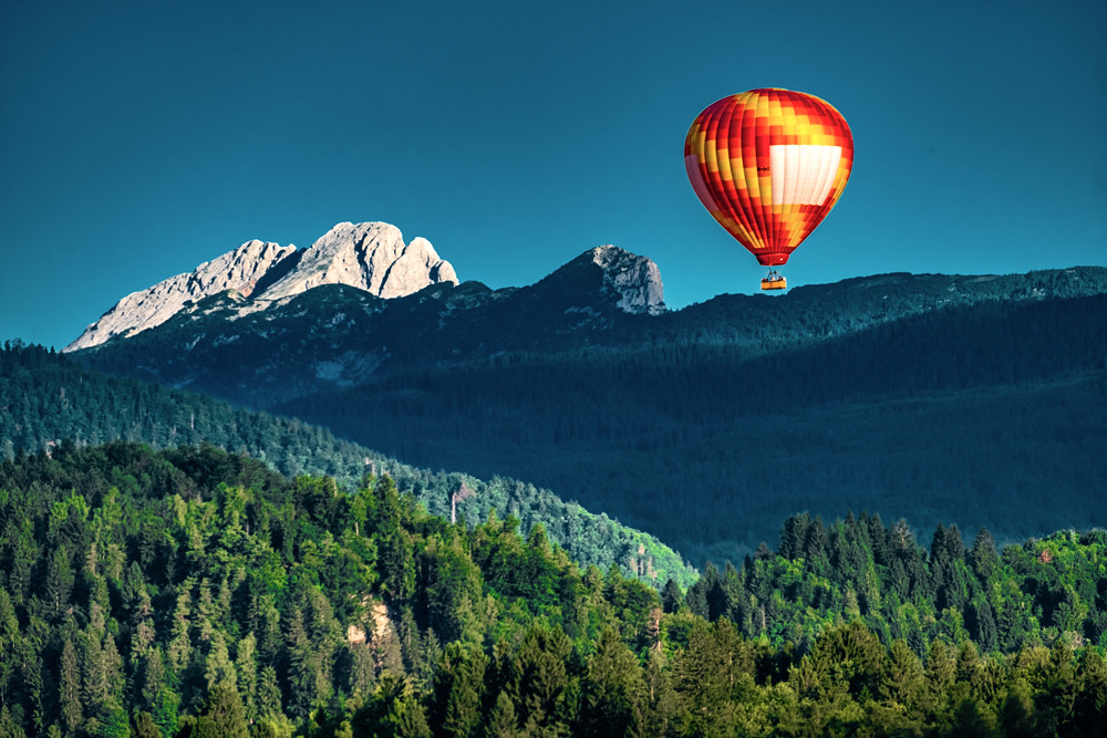 Balloon over Lake Bled, Slovenia