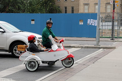A couple, a dog, a scooter and a side-car