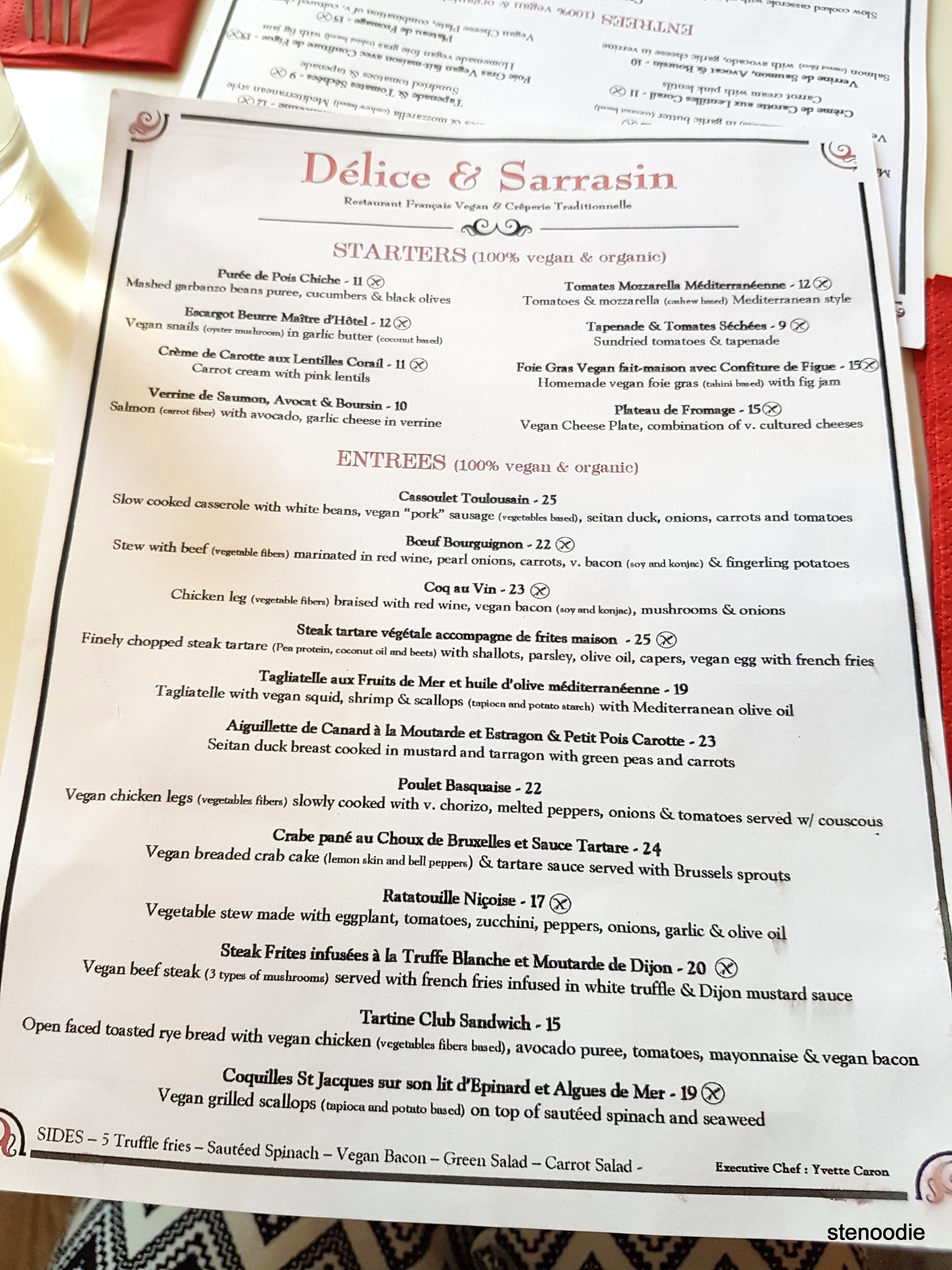 Delice & Sarrasin menu and prices
