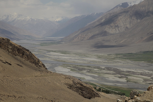 Wakhan Valley The Braided Panj River Dividing Afganistan and Tajikistan Central Asia